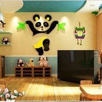 Wholesale Black Bear Wall - Cute Bear Walls Stickers Animals 3D Nursery Wall Stickers Creative Style Design Decorative Acrylic Material Removable Home Decoration