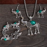 Wholesale Elephant Shaped Jewelry - Free Shipping classic pretty elephant shape elegant jewelry set of necklace  bracelet  earrings Mix Options 4 Color Turquoise