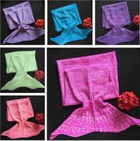 Wholesale mermaid baby bedding - Wholesale- children Blankets Mermaid Blankets baby Sleeping Bag Bedding Warm Soft Handmade Knitted Sofa Blanket 4624