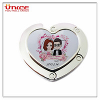 Wholesale Souvenir Purse - Awesome Wedding Gifts Customized logo wedding Anniversary souvenir Heart Shaped bag hanger purse holder foldable table hook