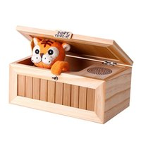 Wholesale Funny Desks - Wholesale-New Upgrade Wooden Electronic Useless Box with Sound Cute Tiger 20 Modes Funny Toy Gift Stress-Reduction Desk Decoration