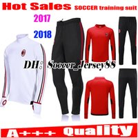Wholesale White Pant Shirt Man - 2017 2018 Trainingsuit kits tracksuit AC Milan soccer jersey long sleeve BACCA KAKA L.ADRIANO SUSO LAPADULA ABATE Milan pant football shirts