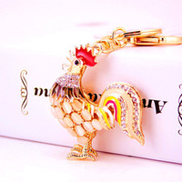 Wholesale Opal Cat Ring - Pretty Chic Opals Cat eye Cock Rooster Chicken Keychains Women Crystal Bag Pendant Key Ring Key Chain Christmas Gift