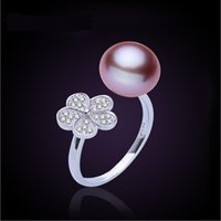 Wholesale Gold Plated Freshwater Pearl Ring - 2017 new fashion 925 silver gold plated Crystal Mosaic Adjustable ring flowers 10-11mm freshwater pearl ring for women Jewelry free shipping