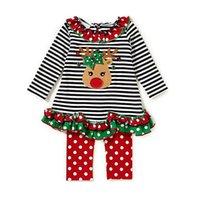 Wholesale Santa Claus Clothes Baby Suits - Baby Christmas stripe suits Kids Santa Claus Christmas deer ruffle Top+pants 2pcs sets Xmas children Clothing Sets 2 styles C2895