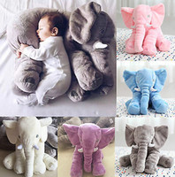 Wholesale Elephant Plush Stuffed Toy Doll - Wholesale- Baby Children Long Nose Elephant Doll Pillow Soft Plush Stuff Toys Lumbar Pillow