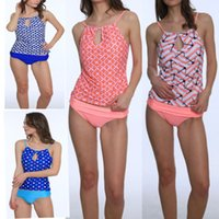 Wholesale Floral Tankini Top - 2017 New Arrival Retro Style Hot Sexy Womens Banded Printed Tankini Top with Triangle Briefs Swimsuit ZL3039