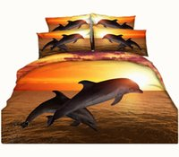Wholesale Dolphin 3d Bedding - Hot Sale Sunset Jumping Dolphin 3D Printed Bedding Sets Twin Full Queen King Size Fabric Cotton Duvet Covers Pillow Shams Comforter Animal