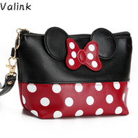 Wholesale Butterfly Makeup - Wholesale- Valink 2017 Women PU Leather Butterfly Bow Makeup Bag Wristlet Cosmetics Bags Fashion Small Travel Pouch Neceser Maquillaje Sac