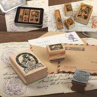 Wholesale Photo Albums Box Sets - 4pcs set Alice&Doris Retro tin box stamp gift Crafts Handmade decal scrapbooking students Stamps Arts Photo Album