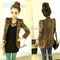 Women blazer shoulder fit - Freeshiping Vintage Autumn Women Leopard Jacket Slim Fit One Button Blazer With Shoulder Pad Suede Outwear female