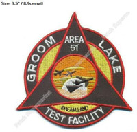 """Wholesale T Shirt Teen Boy - 3.5"""" AREA 51 GROOM DRY LAKE Aliens Patches Movie TV Series Costume Embroidered iron on badge Teen Girls Boys T-shirts TRANSFER"""