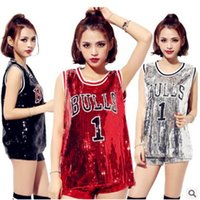 Wholesale Dance Costumes Jacket - 2017T-shirt nightclub costumes new female song show jazz dance hip hop dance clothing T-shirt basketball baby sequined jacket