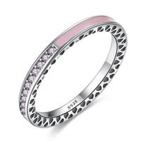 925 ring rosa großhandel-BELAWANG Original 100% 925 Sterling Silber Radiant Herzen Rosa Lavendel Emaille Ring für Frauen Lila Klar CZ Kristall Ehering