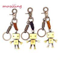 Wholesale European Boy Charms - Leather Key Chain Robot Danbo Pendants Key Rings Car Key Rings Material Antique Copper Alloy Vintage European Charm Jewelry