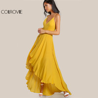 COLROVIE High Low Draped Party Dress Sexy Backless 2017 Women V Neck Yellow A Line Summer Dresses Крест Strappy Slip Maxi Dress q1113