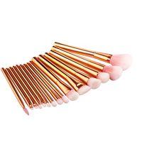 Wholesale make up brushes gold for sale - Group buy 15pcs Rose Gold Makeup Brushes Set Nylon Hair Foundation Blush Powder Concealer Make Up Cosmetic Brush Kit Maquillage