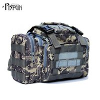 Wholesale lure waist bag - Wholesale- Outdoor Lure Fishing bag 900D Oxford fishing tackle bag multifunctional Camouflage waist pack messenger bag fishing tackle