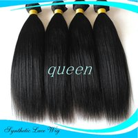 Wholesale Synthetic Hairpiece Blonde - Hair Extensions croch yaki Black Brown Blonde Natural Straight 18 24 inch Long High Tempreture Synthetic Woman Hair Extension Hairpiece