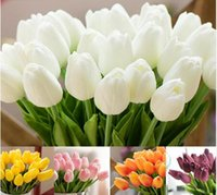 Wholesale Artificial White Tulips - 10 30pcs PU Fake Artificial Silk Tulips Flores Artificiales Bouquets Party Artificial Flowers For Home Wedding Decoration