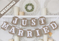 Wholesale Bag Booth - Wholesale- 1Set bag JUST MARRIED Wedding Decoration Bunting Banner Flag Photo Booth Prop Party Supplies Favours DIY Handmade Prop AW-0711