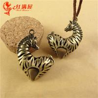 Wholesale Tibetan Filigree Beads - 36*44MM Antique Bronze 3D filigree Hollow retro zebra charm pendant beads, DIY jewelry accessories animal charms, tibetan charms