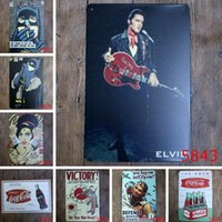 Wholesale Pictures Metal Homes - Retro Painting Elvis Presley Music Poster Picture Cafe Bar Iron Metal Posters Mural Wall Sticker Home Art Decor Tin sign Bar Paint