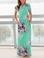 Wholesale Round Neck Long Sleeve Dresses - 2017 women's fashion Bohemian vacation floral print round neck short sleeves Sexy Plus Size Two colors available Maxi Long Dresses