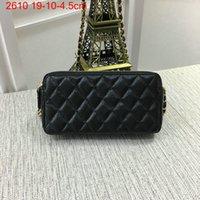 Wholesale Double Flap Purse - Free Shipping! Small Shoulder Bag Women Clutch Bags Double Zipper mini 19cm Bags Caviar Leather Handbags Purse 2610