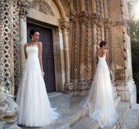 Wholesale Boat Neck Bridal Wedding Dress - 2018 Milla Nova Vintage Wedding Dresses Boat Neck Sleeveless A line Lace Appliqued Court Train Bridal Dress Custom Made