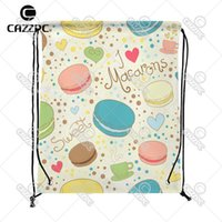 En gros - Lovely Yummy Colorful Cartoon Macarons Paris gâteau Impression Custom personnalisé en nylon tissu Drawstring sac à dos sac
