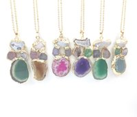 Wholesale Multi Stone Pendants - JLN Irregular Multi Color Druzy Agate Pendant Necklace Gold Plated Wrapped Slice Combined Stone Pendant Necklace For Gift
