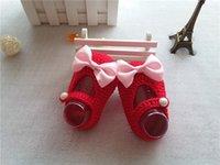 Wholesale Knit Crochet Baby Girl Shoes - Newborn Soft Sole Baby Crochet Shoes 2017 Princess Baby Crochet Handmade Knit Shoes Girls Pearl Shoes Toddler Prewalker Baby First Walker
