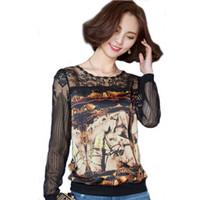 atlar gömlek moda toptan satış-2016 Artı Boyutu Dantel Bluzlar Kadın Moda İlkbahar Sonbahar At Baskı Şifon Gömlek Vintage Gevşek Blusa Feminina Uzun Kollu Tops