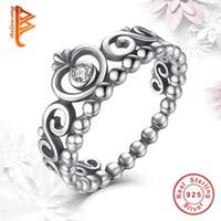 Wholesale Tiara Rings Wholesale - BELAWANG 925 Sterling Silver Crown Wedding Rings For Women Princess Rings Tiara Crown Wedding Engagement Ring For Women Fashion Jewelry