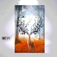 Wholesale Pine Panel - Fuee Shipping Silhouette of Deer Family with Pine Forest Canvas Art Print Painting Poster, Wall Picture for Home Decoration, Home Decor