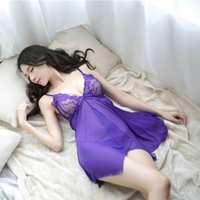 Wholesale Sexy Baby Doll Pink - New style sexy lingerie sexy tassel elegant home pajamas temptation to sling Lingerie Lace long paragraph women Baby Dolls QQ-057