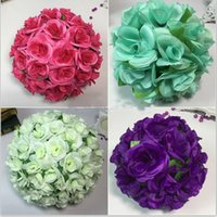 Wholesale Satin Kissing Balls - 12 inch (30CM) Artificial Rose Satin Pomander Kissing Balls for Home Wall Wedding Party Ceremony Home Decoration Kissing Ball