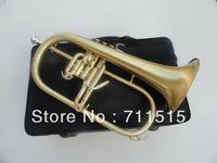 Wholesale Valve Brush - wholesale professional trumpet musical instruments green bronze bb flugelhorn monel valves brushed brass trompeta horn