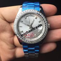 Wholesale Diamond Face - Roles AAA sapphire watches men luxury automatic brand DayDate White face Big diamond watch men Mechanics original clasp mens watches 40MM
