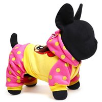 Wholesale Dots Sweater Girls - New fashion Freeshipping dot big eye cute girl dog hoodies pet clothes 2 color 5 size