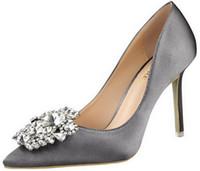 ingrosso alti talloni di vendita al dettaglio-la migliore vendita Nuove donne primavera estate pompe elegante fibbia strass raso di seta tacchi alti scarpe con tacco sexy sottile scarpe a punta singola