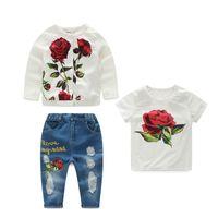Wholesale Wholesale Floral Jeans Print - Kids Girls Rose Sets 2017 New Spring Baby Girl Floral Print Jackets+T-shirt+Jeans 3pcs Outfits Children Suits Fancy Children Clothes S008