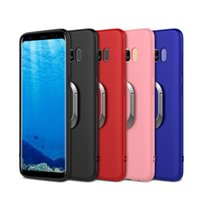Wholesale car back cushion - For Samsung S8 Plus Soft TPU Case with Metal Grip Ring Kickstand Magnetic Car Mount Cushion Anti-fingerprint Back Skn Shell DHL Wholesale