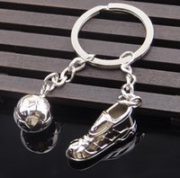 Wholesale World Wholesale Shoes - Creative Metal Soccer Shoes Keychain World Cup Soccer Team Small Gift Gift Car Key Pendant KR081 Keychains mix order 20 pieces a lot