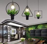 Wholesale E27 Pot Lights - Vintage Industrial Plant pendant Lamp Iron Plant Creative Potted chandelier For Restaurant Bar Cafe Living Room LLFA