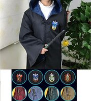 Wholesale Black Star Cosplay - Free Shipping Harry Potter Cosplay Hogwarts Robe Cloak Gryffindor Slytherin Hufflepuff Ravenclaw 4 House 10 Sizes Can Chose