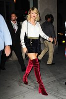 Azul / Preto / Red Velvet Over-the-Knee Boots 2017 New Celeb Moda Thick High Heels Rodada Toe Inverno Outono Botas Sapatos Mulher