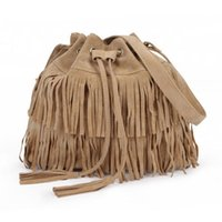 Wholesale-Women Faux Suede Fringe Tassel Sac à bandoulière Sac à main Messenger Bag