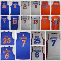 Wholesale Rose Shirts - 2017 Basketball Jerseys 6 Kristaps Porzingis 7 Carmelo Anthony 13 Joakim Noah 25 Derrick Rose Mens Shirts Stitched Jerseys Cheap
